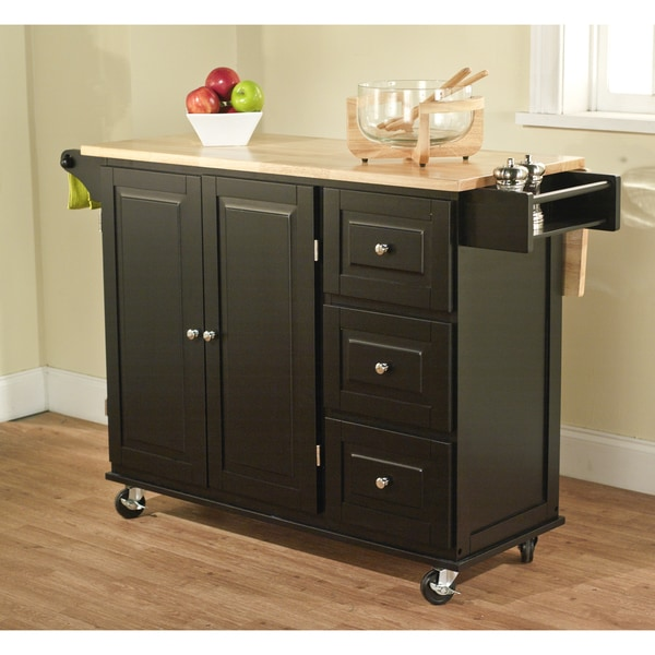 Simple Living Black/ Natural Aspen 3-drawer Kitchen Cart