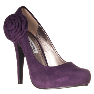 Riverberry Women's Microsuede Rosette-detail Hidden Platform Stilettos