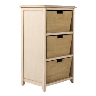 La Jolla Cream and White 3-drawer End Table