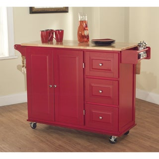 Aspen Red/ Natural Three-drawer Cart