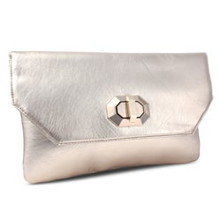 Miadora 'Naomi' Metallic Golden Clutch