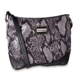 Miadora 'Bayla' Zip Top Gray Snake Shoulder Bag
