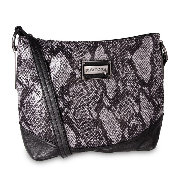 M by Miadora 'Bayla' Zip Top Gray Snake Shoulder Bag