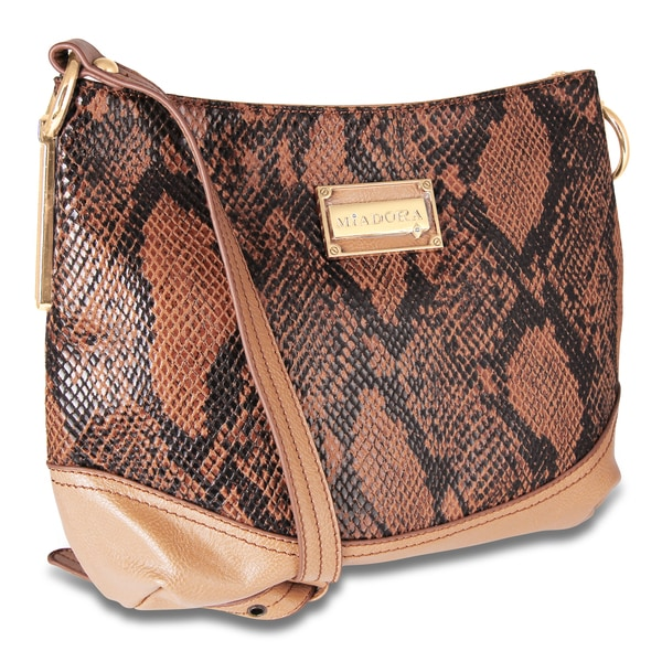 M by Miadora 'Bayla' Zip Top Camel-colored Snake Shoulder Bag