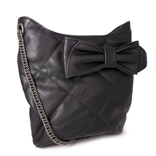 Miadora 'Brenda' Black Quilted Bow Shoulder Bag