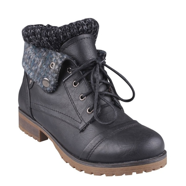 Refresh by Beston Women's 'Wynne-01' Black Faux-Leather Lace-Up Combat Boots
