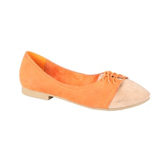 Refresh by Beston Women's 'Tessa-03' Orange/Taupe Oxford Flats