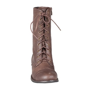 Refresh by Beston Women's Brown 'Libby-01' Lace-up Combat Boots