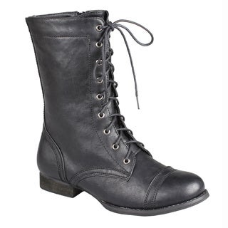 Refresh by Beston Women's Black 'Libby-01' Lace-up Combat Boots