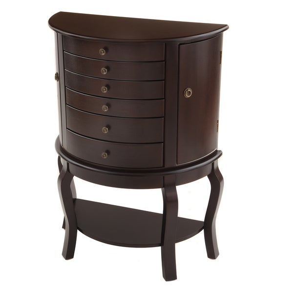 Bianco Collection Oyster Bay Half Round Espresso Jewelry Armoire