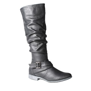 Refresh by Beston Women's 'Geneva' Black Knee-High Boots