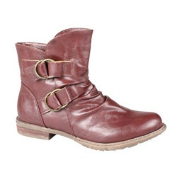 Refresh by Beston Women's 'Bailey-02' Wine Pull-On Ankle Boots