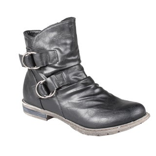 Refresh by Beston Women's 'Bailey-02' Black Pull-On Ankle Boots