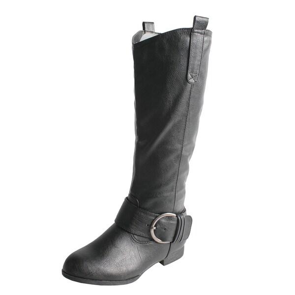 Wild Diva by Beston Women's 'Tosca-29' Black Knee High Boots