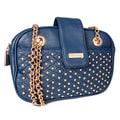 Miadora 'Juliana' Navy Gold-studded Shoulder Bag