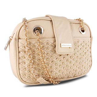 Miadora 'Juliana' Beige Gold-Studded Shoulder Bag