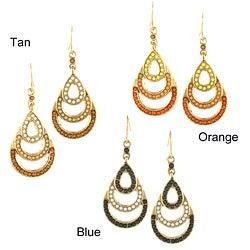 Goldtone Teardrop Ombre Beaded Chandelier Earrings