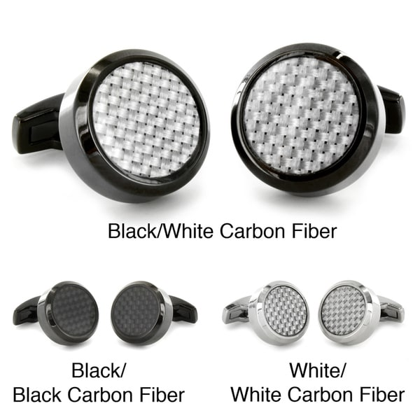 Stainless Steel with Carbon Fiber Inlay Oversized Cufflinks