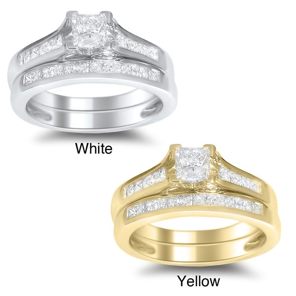 Montebello 14k White or Yellow Gold 1 1/2 Carat TDW Princess-cut Diamond Bridal Ring Set (H-I, SI2)