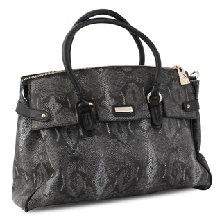 Miadora 'Rebecca' Black Python Embossed Satchel