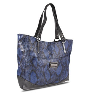 Miadora 'Leslie' Blue Snake Embossed Tote Bag