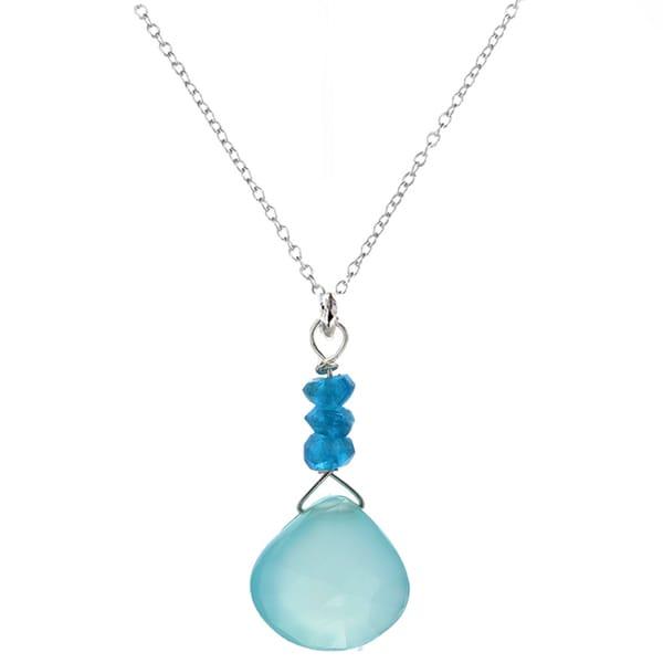 Ashanti Sterling Silver Chalcedony Briolette and Blue Apatite Pendant Necklace (Sri Lanka)