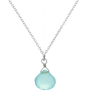 Ashanti Sterling Silver Chalcedony Briolette Pendant Necklace (Sri Lanka)