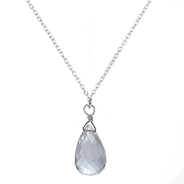 Ashanti Sterling Silver Natural Rock Crystal Briolette Pendant Necklace (Sri Lanka)
