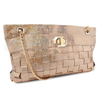 Miadora 'Lucille' Gold Woven Shoulder Bag