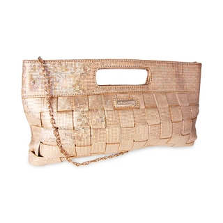 Miadora 'Jenni' Oversized Gold Metallic Clutch
