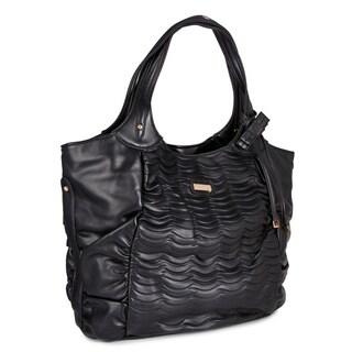 Miadora 'Natasha' Black Faux Leather Tote Bag