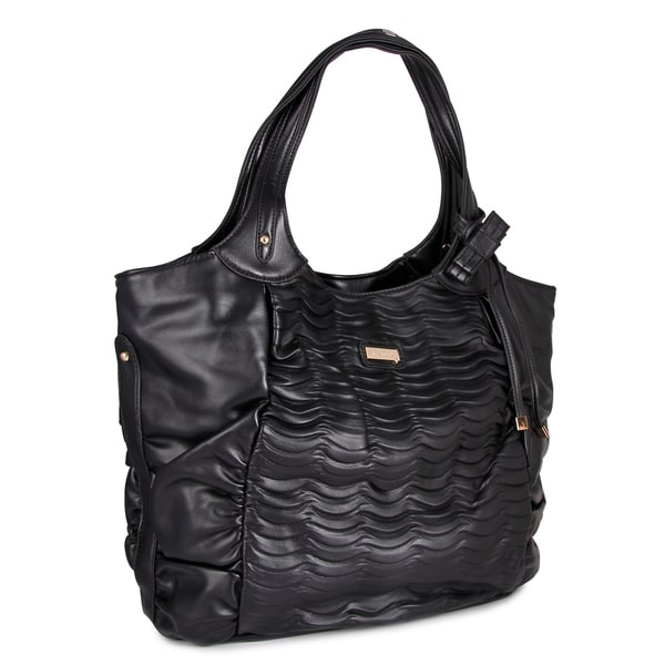 M by Miadora 'Natasha' Black Faux Leather Tote Bag