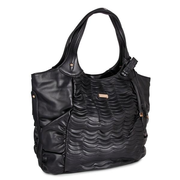 M by Miadora 'Natasha' Black Faux Leather Tote Bag