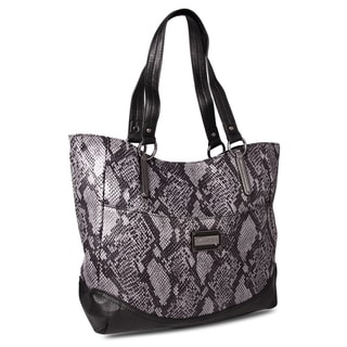 M by Miadora 'Leslie' Gray Snake Embossed Tote Bag