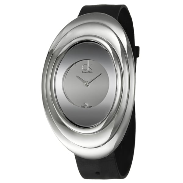 Calvin Klein Women's 'Mound' Stainless Steel and Leather Strap Watch