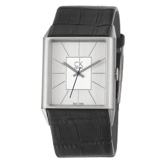 Calvin Klein Men's 'Angular' Stainless Steel and Leather Strap Watch