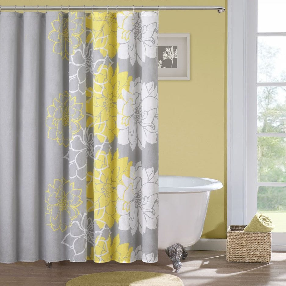 Grey and yellow shower curtain target - Madison Park Brianna Sateen Printed Shower Curtain
