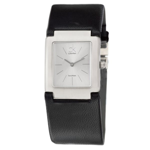 Calvin Klein Women's 'Dress' Stainless Steel and Leather Strap Watch
