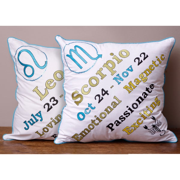 Astrology Blue and Green Pillow Cover (India)