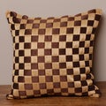 Tan and Brown Checkered Cushion Cover (India)