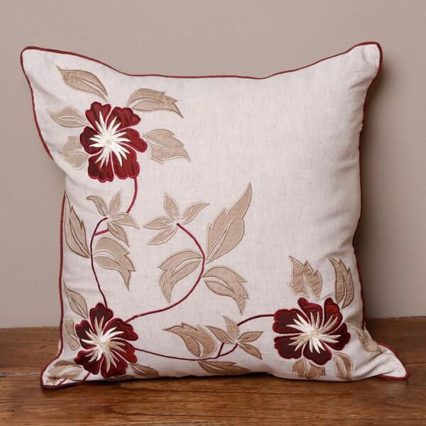 Tan Hibiscus Cushion Cover (India)