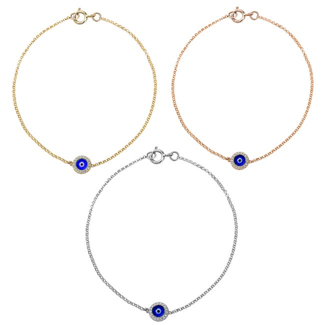 14k Gold Diamond Accent and Enamel Evil Eye Bracelet