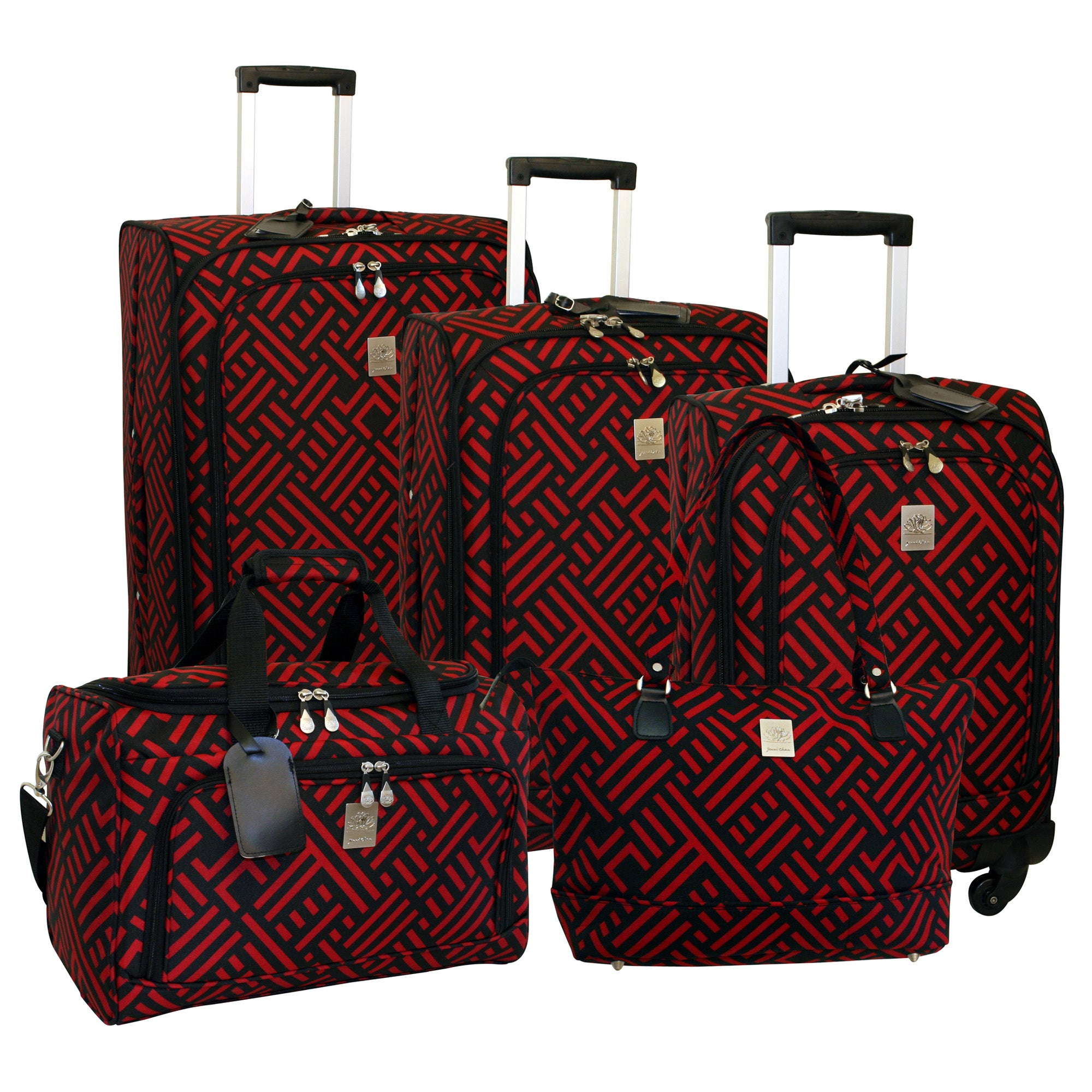 Jenni Chan Signature Black/Red 5-piece Spinner Luggage Set