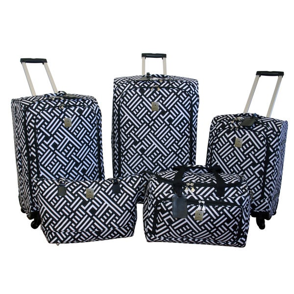 Jenni Chan Signature Black/White 5-piece Spinner Luggage Set