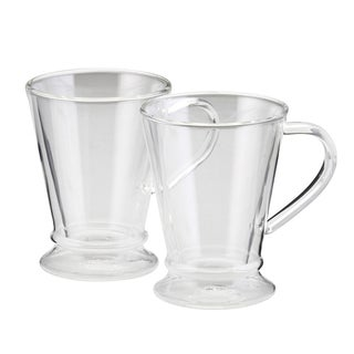 BonJour 10-ounce Insulated Glass Coffee Mugs (Set of 2)