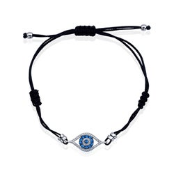 Silver Sapphire and 1/6ct TDW Diamond Evil Eye Bracelet (J-K, I2-I3)