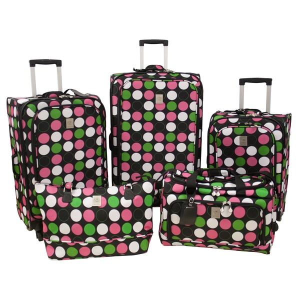 Jenni Chan Multi Dots 5-piece Fashion Spinner Luggage Set