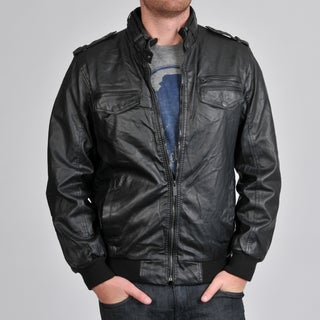 Buffalo by David Bitton Men's Faux Leather Strap Collar Zip Front Jacket