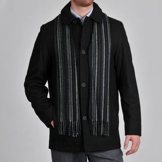 Perry Ellis Men's Wool Blend Button Front Jacket with Scarf