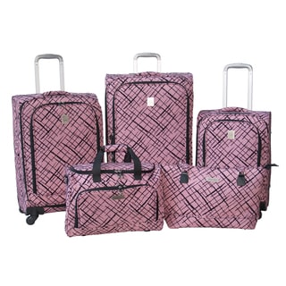 Jenni Chan Red Brush Strokes 5-piece Fashion Spinner Luggage Set